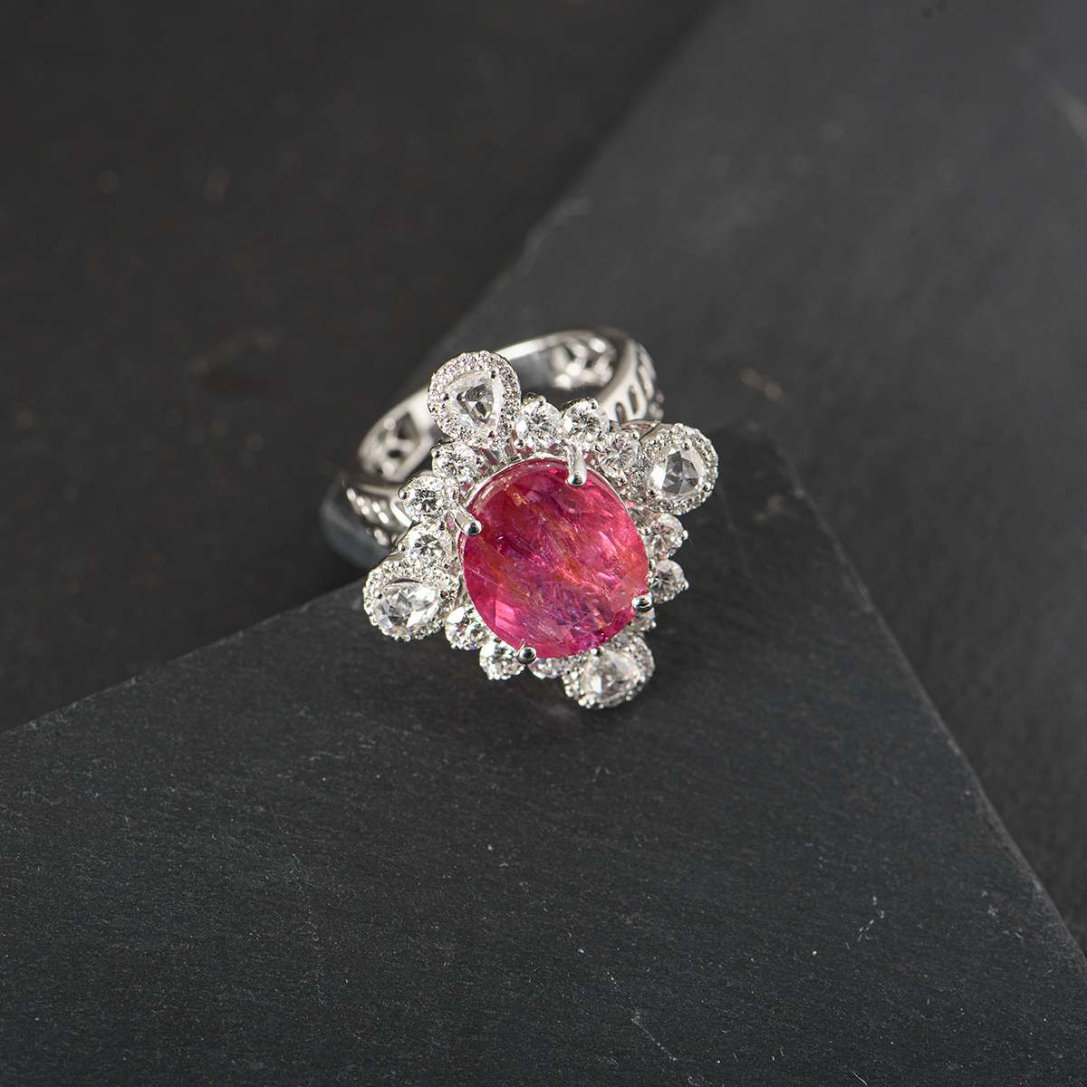 White Gold Burmese Ruby and Diamond Ring